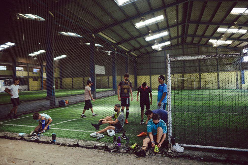 Practice in soccer field